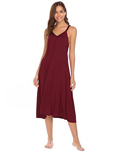 Ekouaer Chemise Womens Sleeveless Nightgown Cotton Trim V Neck Nighties Sleepwear,8358-wine,Large