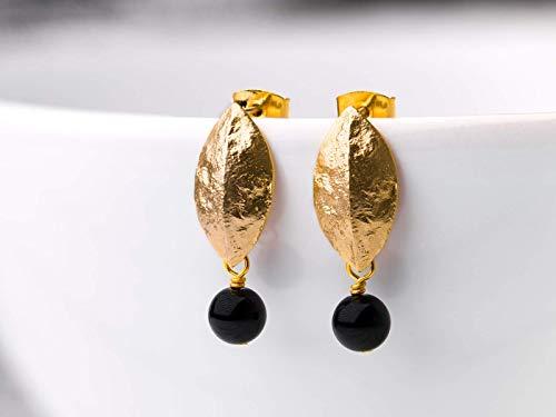 Ohrringe schwarz-gold, vergoldete Blatt-Ohrstecker, Onyx-Perlen, eleganter zierlicher Schmuck, ein Handmade Geschenk für Sie