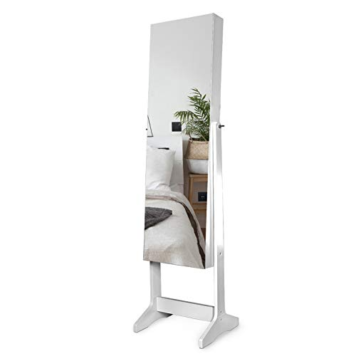 AJP Distributors Full Length Mirror Display Personalized Jewelry Cabinet Armoire Storage Lockable Compartment Makeup Cosmetics Brush Collection Holder Organizer + LED Lights Velvet Interior Gorgeous