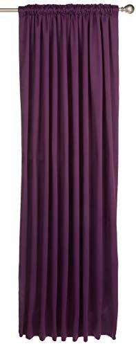 Dreamscene luxe volledig gevoerde enkele thermische verduistering potlood plooi gordijnen met Tiebacks, polyester, pruim paars, 66 x 84 -inch