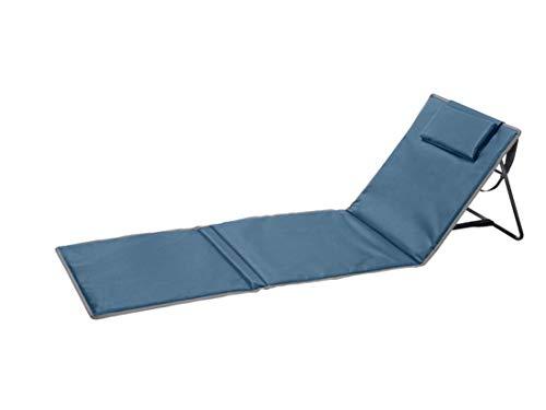 Crivit Campingmatte Campingliege Liege Gartenliege Strandliege Strandmatte mit Rückenlehne Aufbewahrungstasche stufenlos verstellbar (Grau)
