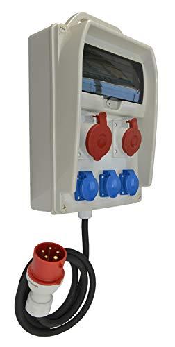 Baustromverteiler, Wandverteiler 3 x 230V/16A + 1 x CEE 32A/400V + 1 x CEE 16A/400V + HAGER LS + RCCB(FI) verdrahtet