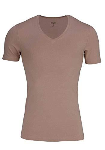 OLYMP T-Shirt Level Five body fit V-Ausschnitt beige Größe M