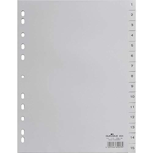DURABLE Hunke & Jochheim Register, PP, 1-15, grau, DIN A4, 215/230 x 297 mm, 15 Blatt