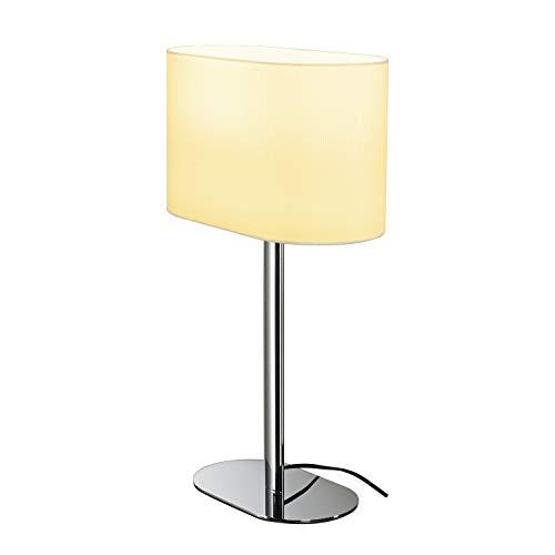 SLV Tischleuchte SOPRANA OVAL / Innen-Beleuchtung für Wohnzimmer, Büro, Schlafzimmer, Lese-Lampe / E27 60.0W weiß