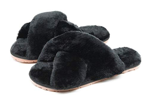 Women's Fuzzy Crossband Fluffy Furry Fur Slippers Flip Flop Winter Warm Cozy House Memory Foam Sandals Slides Soft Flat Comfy Anti-Slip Spa Indoor Outdoor Slip on (06/Black, 7-8)