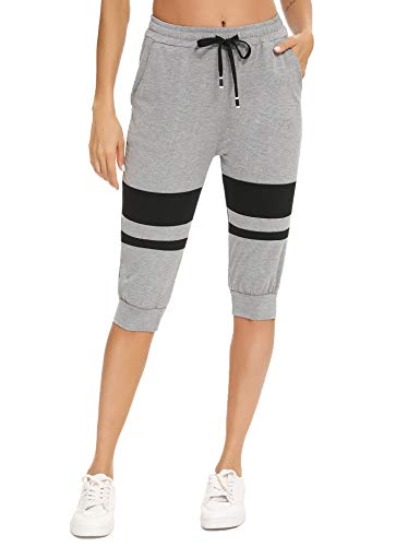 Akalnny Short Femme Sport Été Jogging Pantalon Court Grande Taille Short de Survêtement à Cordon avec Poches et Bermuda Femme Casual Short de Sport pour Femme Élastiques