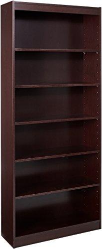 Lorell 6-Shelf 36 x 12 x 84-Inch Panel End Hardwood Veneer Bookcase, Mahogany