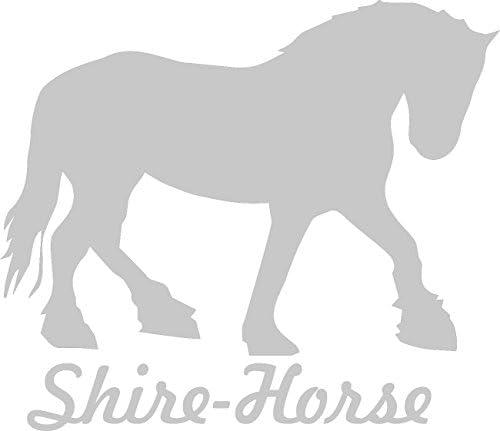 2x Auto Aufkleber Shirehorse Pferd 2x Car Sticker Konturgeschnitten Ca 11x10 Cm Silber Auto