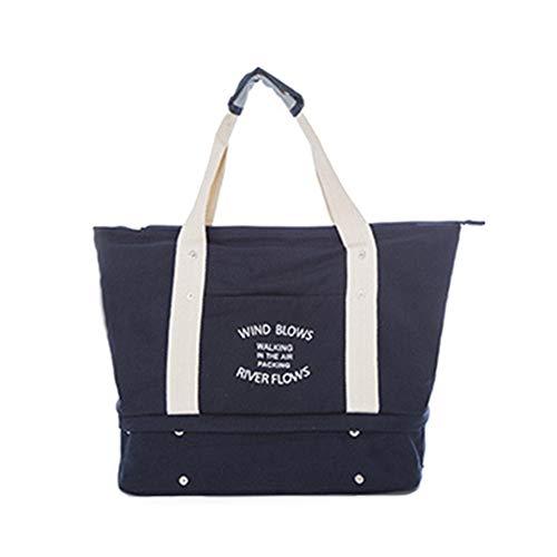 Damen Herren Trendy Reisetasche Segeltuchtasche Strandtasche Für Wochenend Urlaub (Dunkelblau)