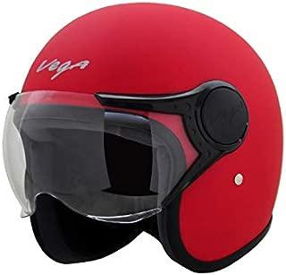 Vega Jet Open Face Helmet (Dull Red, L)