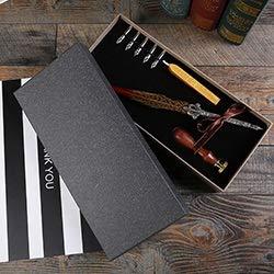 L.J.JZDY Füllfederhalter Antike Feder Dip Schreibtinte Set Briefpapier-Geschenk-Box mit Siegellack Set Handschrift (Color : 3, Size : Kostenlos)