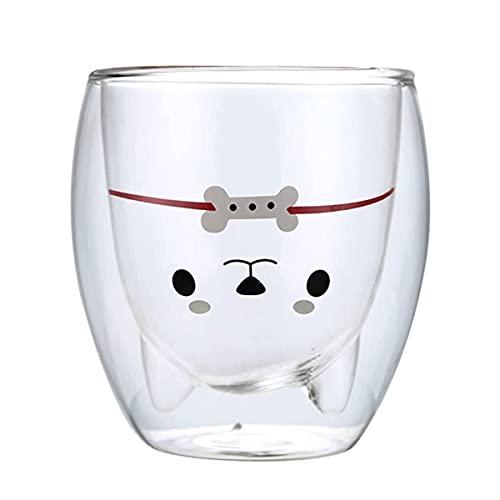 Topways Schöne Hunde-Kaffeetassen, doppelwandig, isolierte Gläser, Anti-Verbrühung, Espressotassen, 280 ml, Geschenk für Weihnachten, Geburtstag, Valentinstag (weißer Hund)