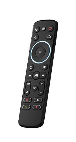 One For All Streamer-Fernbedienung für Multimedia-Box - Steuerung von bis zu 3 Geräten - Multimedia-Boxen (Roku, Apple TV usw.), Fernseher und Soundbars - Schwarz - URC7935
