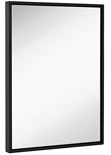 Hamilton Hills Clean Large Modern Black Frame Wall Mirror | Contemporary Premium Silver Backed Floating Glass Panel Vanity or Bathroom Mirrored Rectangle Hangs Horizontal or Vertical 22' x 30'