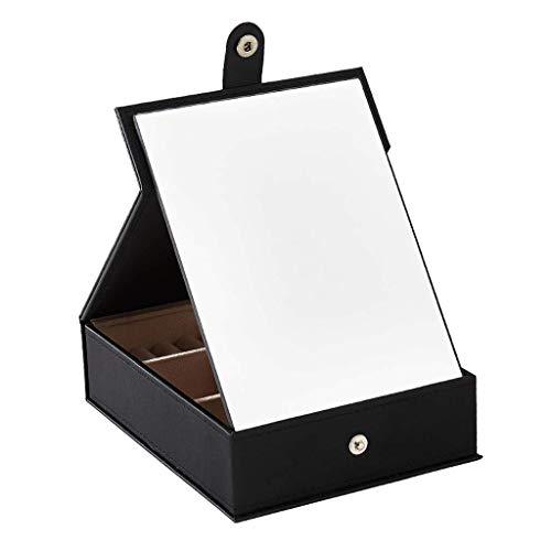 AJH Multifunctionele HD-make-upspiegel Sieradendoos Desktop Cosmetische sieraden Opbergdoos PU stevige make-up koffer, sieraden opbergdoos