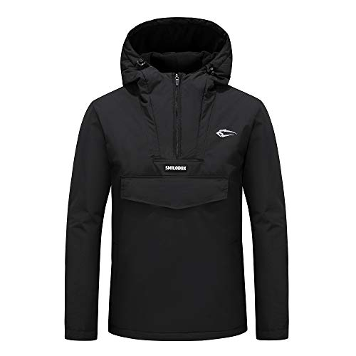 SMILODOX Herren Winterjacke Storm | Jacke für Sport Fitness & Freizeit | Sportjacke mit Aufdruck, Farbe:Schwarz, Größe:S
