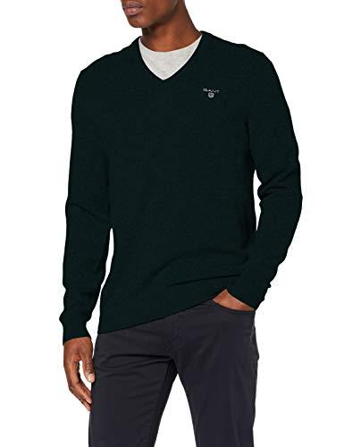 GANT Herren MD. Extrafine Lambswool V-Neck Pullover, Grün (Tartan Green 374), X-Large (Herstellergröße: XL)