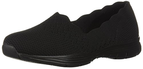 Skechers Women's Seager-STAT-Scalloped Collar, Engineered Skech-Knit Slip-On-Classic Fit Loafer, Black, 9 M US