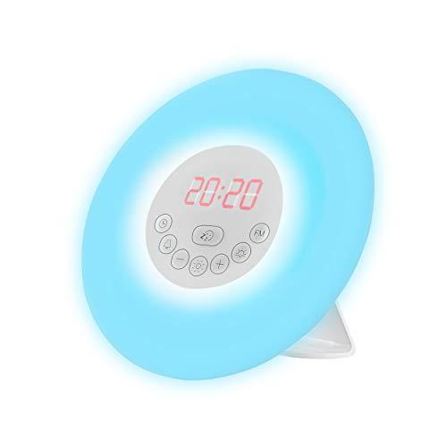 Zovex® Ultimativer Lichtwecker – Verschiedene Effekte – Wecker mit sieben Farbvarianten – Wecker mit Sonnenaufgangssimulation (weiß)