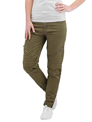 Urban Classics Damen Ladies Stretch Biker Pants Hose, Grün (Olive 176), W27