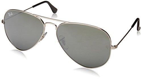 Ray-Ban RB3025 Classic Mirrored Aviator Sunglasses, Silver/Silver Mirror, 58 mm