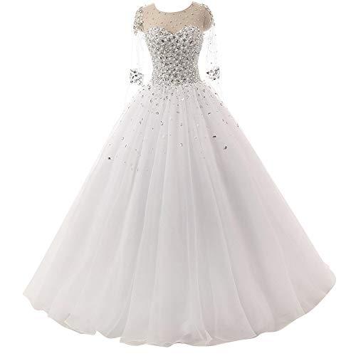 Brautkleider Vintage A-Linie Prinzessin Hochzeitskleider Lang Tülle Standesamt Brautmode Partykleid mit 1/2 Ärmel Elfenbein 34