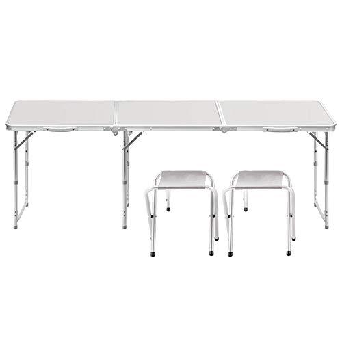 JCCOZ-T Mesa plegable de 1,8 m de aleación de aluminio portable simple multifunción camping buffet del partido de jardín de mercado de coches de arranque Puesto de picnic cubierta de caballete Mango d