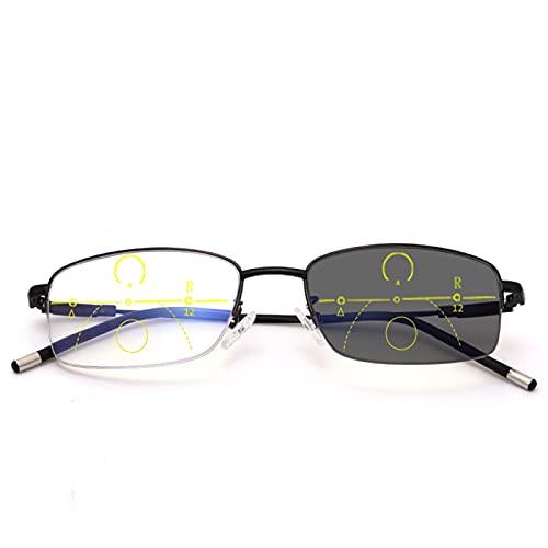 DDZHE Anteojos de lectura bifocales, anteojos de sol fotocromáticos de transición, anteojos negros, anteojos anti luz azul, anteojos unisex, con estuche