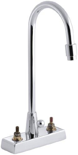 KOHLER K-7422-K-CP Triton - Grifo de lavabo con cuello de cisne y boquilla de cuello de cisne, requiere asas, cromo pulido