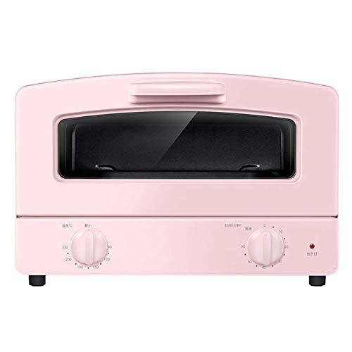 Compacte oven, dubbel kwartsglas, verwarmingsbuis, lades net en 1000 W kookvermogen, tafeloven, blauw en roze (blauw) PINK