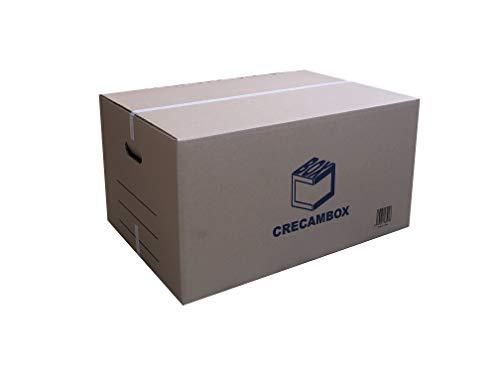 CRECAMBOX PACK 10 Cajas Carton Grandes Mudanza y Almacenaje 595x415x310 mm. Ultraresistentes...