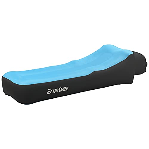 EchoSmile Ergonomic Outdoor Inflatable Sofa, Air Sofa Couch with Pillow, Waterproof and Air Leak Proof Camping, Chair Bed or Portable Hammock with Compression Bag Without Pump