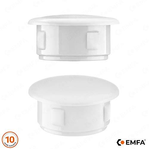 Abdeckstopfen 36x30 mm Weiß   25 Stück   Blindstopfen Kunststoff Verschlusskappe