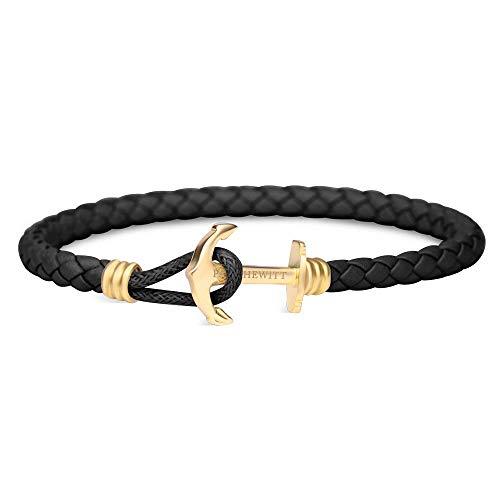 PAUL HEWITT Anker Armband Herren und Damen PHREP Lite - Männer und Frauen Leder Armband (Schwarz), Armband mit Anker Schmuck aus IP-Edelstahl (Gold)