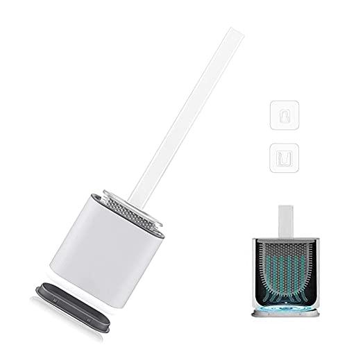 Mitening Scopino per WC in silicone, con manico lungo e base antigoccia, con supporto ad asciugatura rapida, spazzola per WC da parete per bagno e WC per gli ospiti