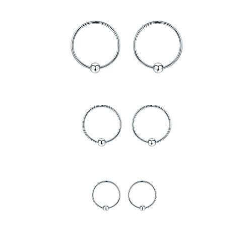 Sterling Silver Small Hoop Earrings Hypoallergenic Mini Tiny Ear Piercing Endless 20G Ball Bead Cut Nose Lip Rings Sleeper For Women (Silver-10/12/14mm)