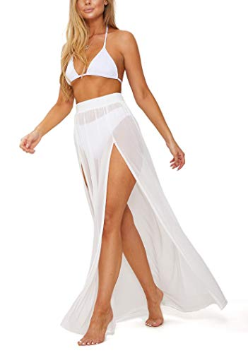 Power Mesh Fabric | 5 Yards Continuous | 60' Wide | 4-Way Stretch, 10% Spandex | Lightweight, Sheer (White)
