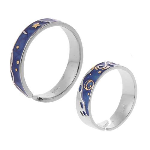 angwang conjunto de anéis, 2 peças, banhado a prata S925, Van Gogh, Noite Estrelada, anéis românticos, amor eterno
