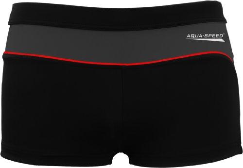 Aqua Speed Badehose für Herren | Retro Schwimmbekleidung UV | Mens Beachwear Tight Black Grey | Kastenbadehose Männer | Boxer Schwimmhose | Schwimmen | 13 Schwarz - Grau, Gr. XXL I Grant