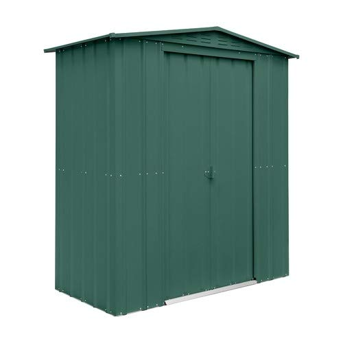 Lotus Heritage Green 6ft x3ft Metal Apex Roof Shed, 6x3