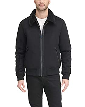 DKNY Men s Shearling Bomber Jacket with Faux Fur Collar Black Large