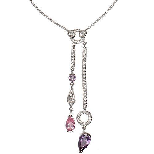 Cadena de mujer de plata de ley 925con Circonita Cadena de 46cm de largo collar y