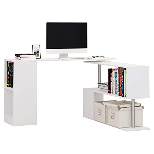 HOMCOM Scrivania Moderna e Angolare per PC, Camera o Ufficio in Legno Bianco con Libreria Girevole
