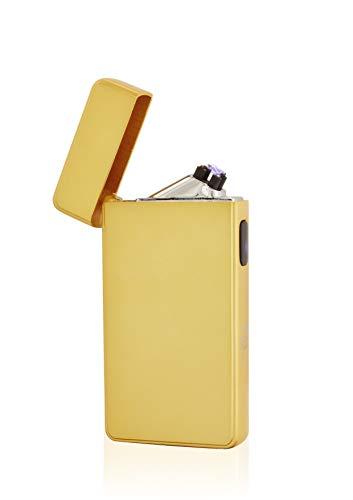 TESLA Lighter TESLA Lighter T13 Lichtbogen Feuerzeug, Plasma Double-Arc, elektronisch wiederaufladbar, aufladbar mit Strom per USB, ohne Gas und Benzin, mit Ladekabel, in edler Geschenkverpackung Matt-Gold Matt-gold