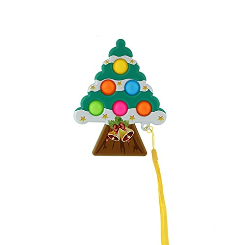 YUMEI Christmas Tree-Shaped Dimple Toys, Fingertip Decompression Sensory Toys, Relieve Stress on Adults, Parent-Child Interaction, Children Push Bubble Toys (Green, 10cm12.5cm)