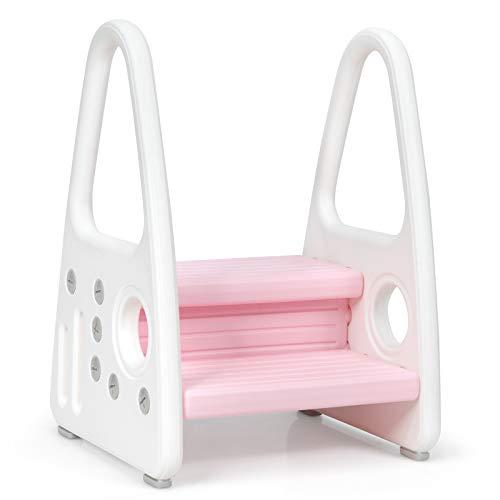 COSTWAY Taburete para Niños de 2 Niveles Escalera Multiusa para Niños de Plástico Escalón Infantil para Habitaciones de Niños Cocina Baño (Rosa)