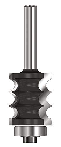 ENT 14850 Dekorativer Profilfräser HW (HM), Schaft (C) 8 mm, Durchmesser (A) 22,2 mm, B 25,4 mm, R 3,2 mm, D 32 mm, mit Kugellager