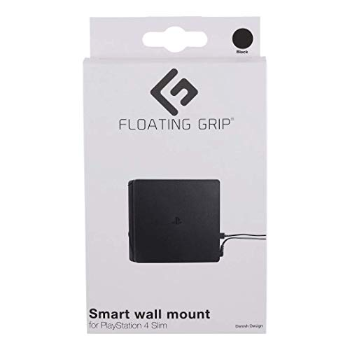 FLOATING GRIP Wall Mount for PlayStation 4 Slim (PS4 Slim). Color: BLACK. 1x Wall Mount for PlayStation 4 Slim (PS4 Slim). Storage PS4 Slim on the wall right next to your TV or hide it behind.