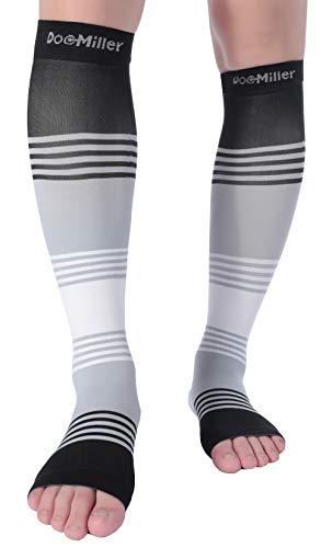 Doc Miller Premium Calf Compression Sleeve Dress Series 1 Pair 20-30mmHg Strong Calf Support Cute Toeless Socks Running Recovery Shin Splints Varicose Veins XL 2XL (Open Toe BlackGrayWhite, Medium)